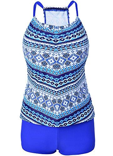 Vilania Tankini Mujer High Waisted Bikini Impreso Bañadores con Boy Shorts Traje De Baño Dos Piezas Azul