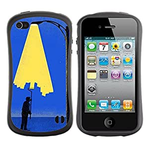 LASTONE PHONE CASE / Suave Silicona Caso Carcasa de Caucho Funda para Apple Iphone 4 / 4S / Painting City Light Wall Street Art Lamp Post