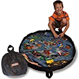 Funfield City Travel Size Drawstring Play Mat - 3 Foot Diameter - Play for Hours and Clean up in Seconds - Perfect for Cars or LEGO Blocks - Perfect Storage and Travel Solution - By Creative QT