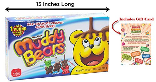 GIANT Milk Chocolate Covered Gummy Bears With Custom Gift Card Included – Over 1 Lb of Candy!
