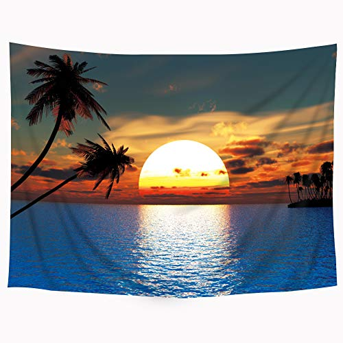 (Riyidecor Wowzone Tropical Sunset Tapestry Ocean Scene Tapestry Sea Tapestry Palm Tree Landscape Tapestry Wall Hanging Bedding Wall Art Decor Bathroom Fabric Home Dorm Living Room 51x59Inch)