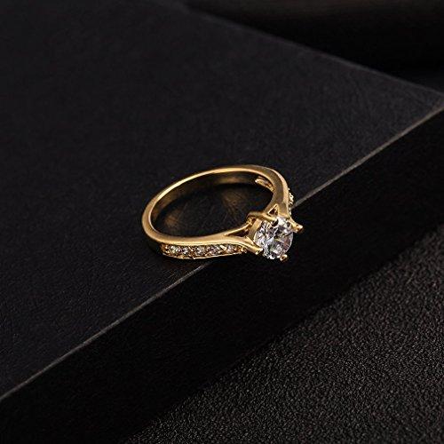 YAZILIND 18K Elégant cristal Solitaire blanc Ring Bride Favorite Un plaqué or pour les femmes