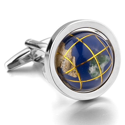 INBLUE Men's Rhodium Plated Cufflinks Silver Blue Globe Shirt Wedding (with Gift Bag) (Cufflinks Silver Plated Nickel)