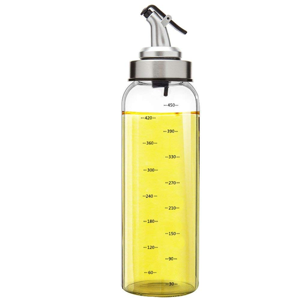 Alfie Oil Dispenser, Olive Oil Bottle, 17 Oz Glass Oil Bottle Cruets No Drip, Clear Glass with Scale line Identification, Sturdy Tops, Exquisite Leakage-free Oil Dispenser Best for Olive Oil, Herb Oils, Syrups, Vinegar & Salad Liquid Dressings Ingredi