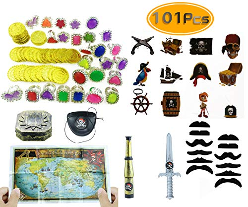 Amersumer 101 piece Pirate Party Supplies and Pirate Favor Toy Bundle( Gold Coins,Diamond Rings, Rhinestone Rings,Tattoos, Mustaches,Pirate Telescope,Eye Patches,Pirate maps,Gold Weapons,Compass ) -