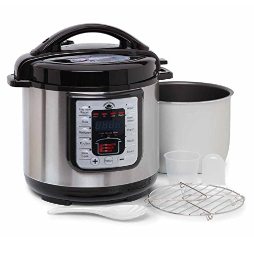 Instant Crock Pressure Cooker Hot Steam Pot, Slow Cooker, Rice Cooker, Steamer, Saute, Yogurt Maker, Warmer, Kitchen Appliance Programmable 6 Qt 8-in-1 Function Stainless Steel Digital Automated (6Qt) ()