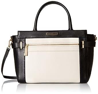 Tommy Hilfiger Savanna Convertible Leather Shopper, Black/Winter White