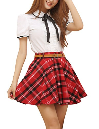 (Gihuo Women's Plaid Skirt School Uniform Pleated Mini Tartan Skirt (Large, Red))