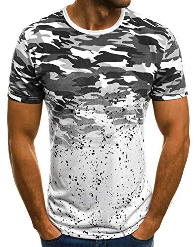 (Mens Casual Short Sleeve Slim Fit T-Shirt Bodybuilding Muscle Fitness Tee Tops (US L, Camo)