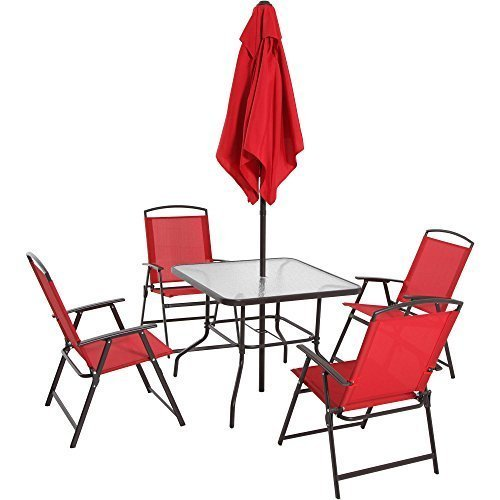 Mainstays Albany Lane 6-Piece Folding Dining Set, Multiple Colors (Red)
