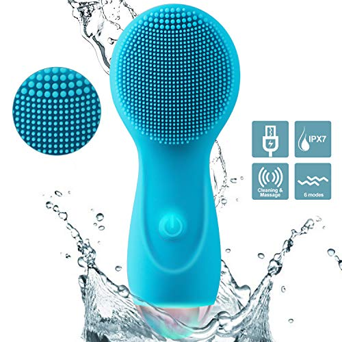 Facial Cleansing Brush, MANFLY Personalized Silicone rechargeable waterproof Face Brush Sonic Electric Face Cleanser and Massager Blue