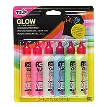 Tulip 29025 3D Fashion Paint, Glow, 6-Pack