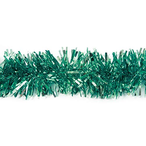 Teal Metallic Twist Garland, 4 Inches x 25 Feet, Parade Float Decorating Material, Prom, Homecoming, Wedding and Theme Party Decoration ()