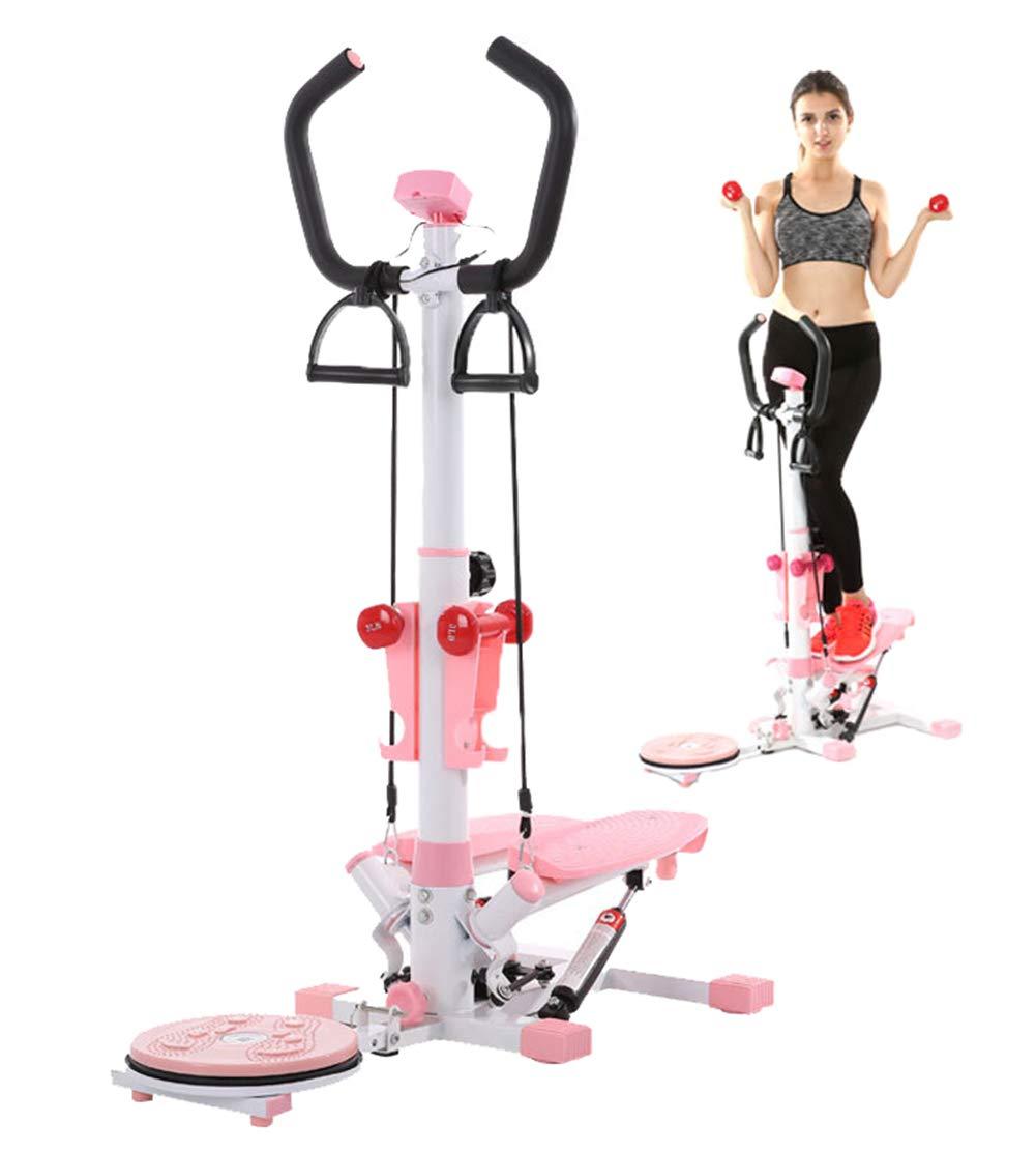 Aire Escalador aeróbico Fitness Step Escalera de Paso con Placa inestable, Mancuernas, Cable de Accesorios Ejercicio máquina LCD Monitor Rosa: Amazon.es: ...