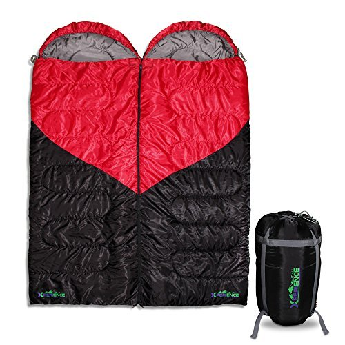 Xperience It All Couples Double Sleeping Bag. 3 Season, 2 Person, Queen Size Ideal For Camping, Hiking, Backpacking; Stuff Compression Sack Included