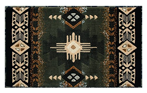 Concord Global Trading South West Native American Mat Area Rug Design C318 Sage Green (24 Inch X 40 Inch) Mat