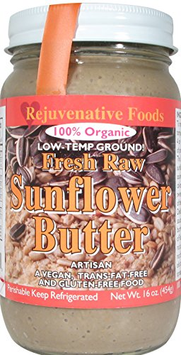 Fresh Raw Smooth Organic Sunflower Seed Butter Pure Rejuvenative Foods Low-Temp-Ground Artisan-Ayurvedic-Vegan In-Glass Vitamin-Protein-Antioxidant-Mineral-Nutrition USDA-Certified-Organic-32 oz