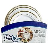 Plexware Golden Rim Plastic Plates 50 Piece Set (20-7.5 Inch, 15 - 9 Inch, 15 - 10.27 Inch) White- Golden Rim