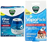 Combo of Vicks Filter-free, Ultrasonic, Visible Cool Mist Humidifier for Medium rooms and Vicks Vapo Pad Family Pack, 12 Count