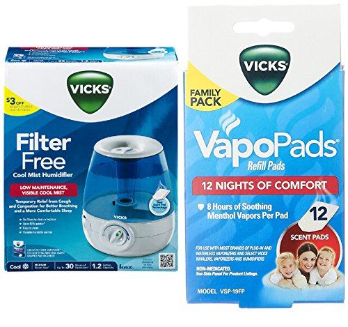 Combo of Vicks Filter-free, Ultrasonic, Visible Cool Mist Humidifier for Medium rooms and Vicks Vapo Pad Family Pack, 12 Count by Vicks