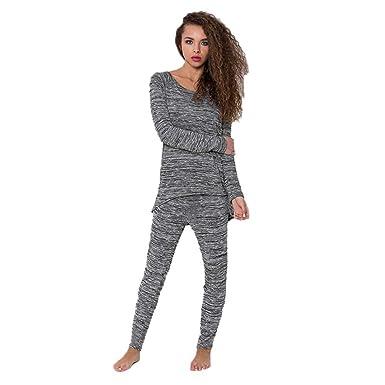 ZEZKT Ensembles Survêtement Femme - 2 Pièces Sportswear T-Shirts à Manches  Longues + Pantalons 6cc7377bb83