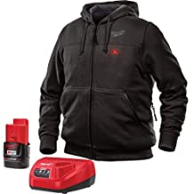 Milwaukee Jacket M12 12V Lithium-Ion Heated Hoodie KIT Front and Back Heat Zones -All Sizes and Colors - Battery and Charger Included - (Small, Black)