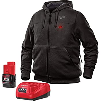 Milwaukee Hoodie M12 12V Lithium-Ion Heated Jacket KIT Front and Back Heat Zones -All Sizes and Colors - Battery and Charger Included - (Large, Black)