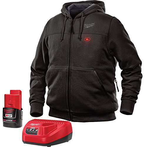 Milwaukee Jacket M12 12V Lithium-Ion Heated Hoodie KIT Front and Back Heat Zones -All Sizes and Colors - Battery and Charger Included - (Extra Large, Black) (Heated Jacket)