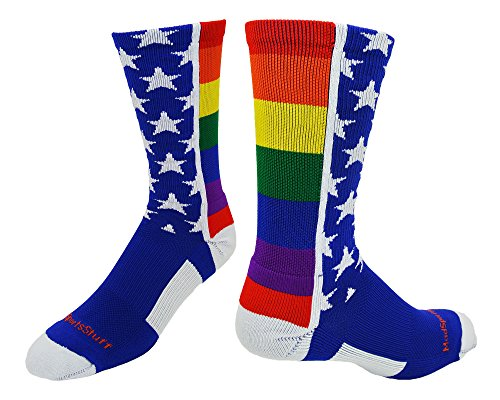 MadSportsStuff Rainbow Pride Crew Socks (Multi, Medium) from MadSportsStuff