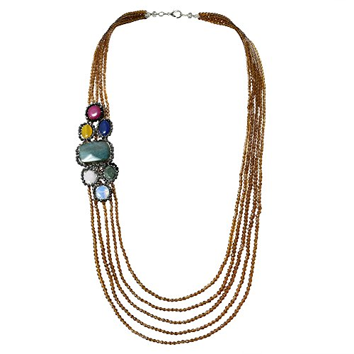 (Tropical Reconstructed Agate Five Layers Long Multi Strand Statement Necklace)