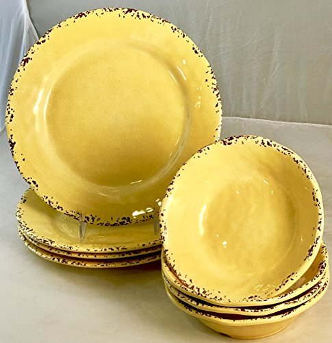 Eight (8)-Piece Il Mulino Sunny Yellow Melamine Dinner Plates and All Purpose Bowls Dinnerware Set (Service for four)