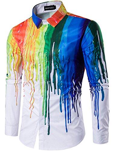 WHATLEES Mens Geek Psychedelic Splash-Ink Printed Slim Fit Long Sleeve Dress Shirts T403 X-Large