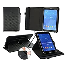 Emartbuy® Hipstreet Pulse 9 Inch Tablet PC Universal ( 9 - 10 Inch ) Black Carbon 360 Degree Rotating Stand Folio Wallet Case Cover + Black Stylus