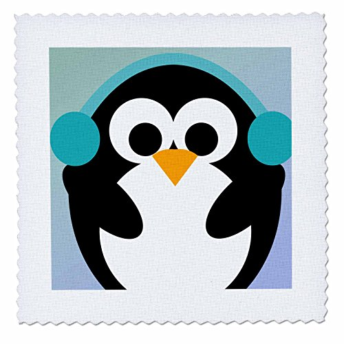 3dRose qs_79276_1 Christmas Penguin Cute Whimsical Art Quilt Square, 10 by 10-Inch