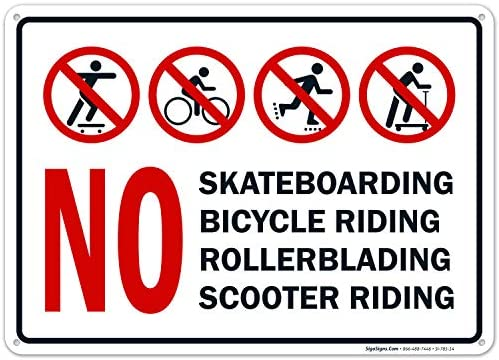 No Scooter Riding Sign No Bicycle Riding No Rollerblading No Skateboarding