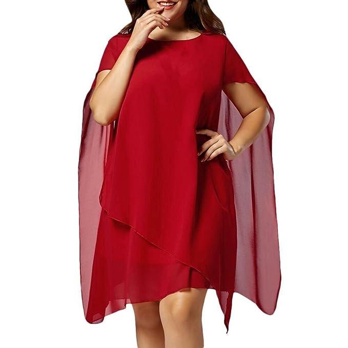 Chiffon kleid, HUIHUI Plus Size Damen Kleid Elegant Vintage ...