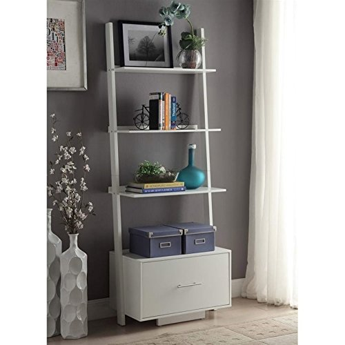 Convenience Concepts Designs2Go American Heritage Ladder Bookcase with File Drawer, White by Convenience Concepts