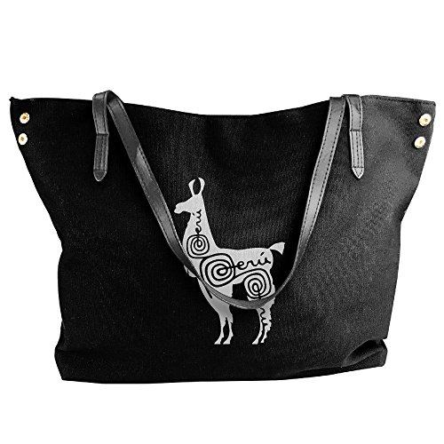 Shoulder Hobo Alpaca Tote 1 Large Handbag Black Bag Peru Women's Canvas Tote Handbag n6tXx4A8