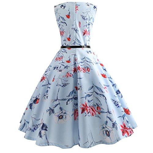 Vintage line Jitong Vestiti Abito Festa per Vestito da Stampato Pieghe 1950s a Girocollo Donna Elegante Swing 31 Stile wwrqgU
