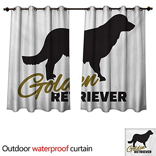 WilliamsDecor Golden Retriever Outdoor Curtains for Patio Sheer Purebred Dog Black Silhouette with Hand Written Style Inscription W63 x L63(160cm x 160cm)