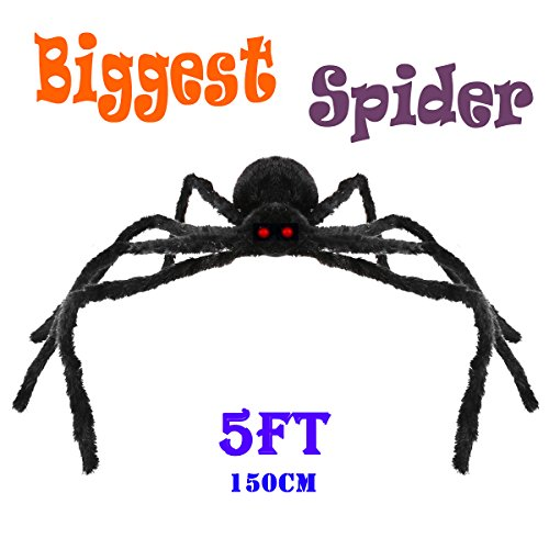Prop Giant (5 FT Halloween Decorations Giant Halloween Spider Black Spider 150cm Large Spider Haunted House Prop Plush Spider Scary Decoration, Virtual Realistic Hairy Spider,)