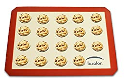 "Tazalon Silicone Non-Stick Baking Mat Set of 2 Eco-Friendly 16.5""x11.75"" Reusable Baking Sheet Liners Anti-Slip Cookware Professional Bakeware for Quality Food Preparation Kitchen Accessories"