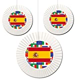 Spain Fan Decorations (3 Count -1-16 inch and 2-12 inch) by Partypro