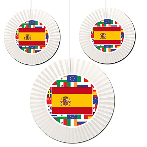 Spain Fan Decorations (3 Count -1-16 inch and 2-12 inch) by Partypro ()