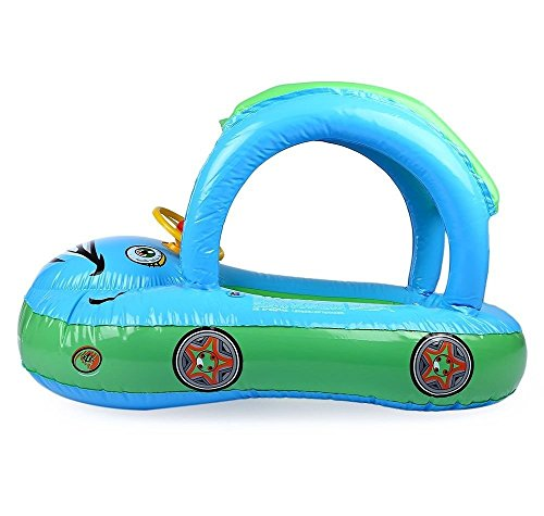 Willcome Sunshade Baby Float Seat Cartoon Car Boat PVC Inflatable Swimming Bath Boat Pool Ring with Canopy for the Age 6-24 Month Kids, Light Blue