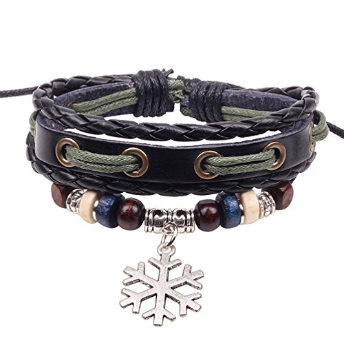Winter's Secret Snowflake Pendant Hand Braided Black Leather Alloy Wood Beads Adjustable Wrap Bracelet (Black Notched Belt Leather Buckle)