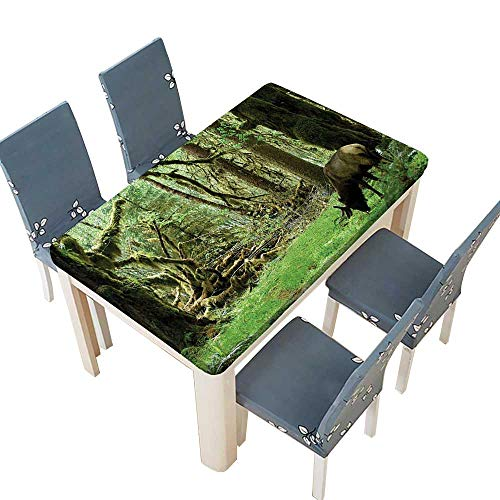 PINAFORE Tablecloth Waterproof Polyester Table Roosevelt Elk in Rainforest Wildlife National Park Washington Antlers Theme Green Brown Tablecloth for Wedding/Party W45 x L84.5 INCH (Elastic Edge)
