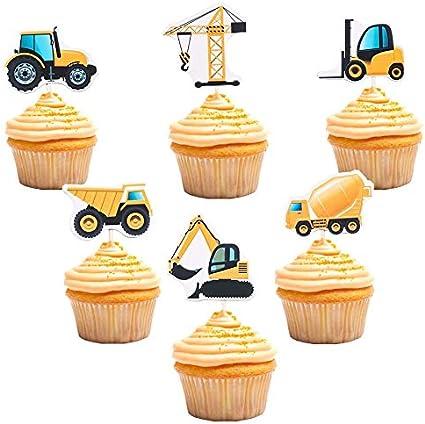 Amazon.com: Adornos para cupcakes de construcción, diseño de ...