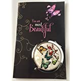 Smiling Wisdom - Girls Butterfly Gift Set - Butterflies Cosmetic Compact Mirror - You are Beautiful Greeting Card - Great Inspirational Gift for Girl, Tween, Teen - Multicolored - Plus Free $20 Gift