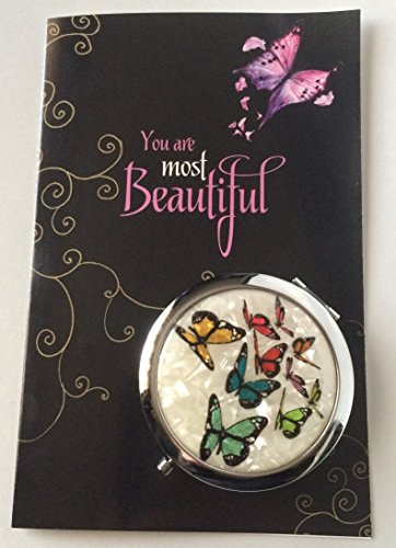 Smiling Wisdom - Girls Butterfly Gift Set - Butterflies Cosmetic Compact Mirror - You are Beautiful Greeting Card - Great Inspirational Gift for Girl, Tween, Teen - Multicolored - Plus Free Gift ()